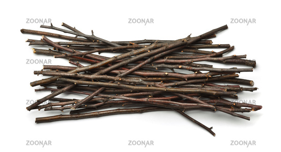 Top view of dry wooden twigs