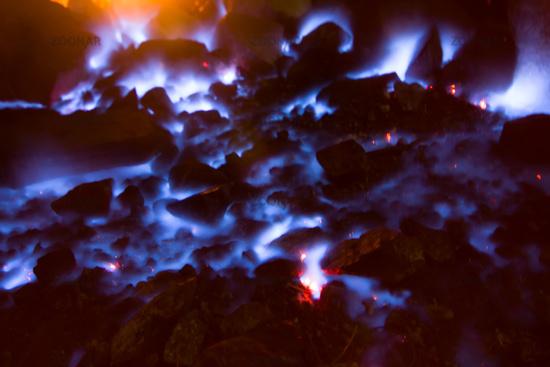 natural gas burns a flame at night