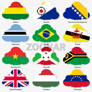 Set  Flags of world sovereign states in  form  clouds. Vector illustration. Set number 3.