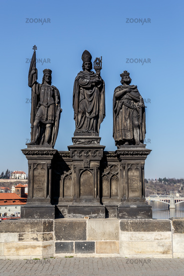 Staue on the Charles Bridge in Prague, Czech Republic.