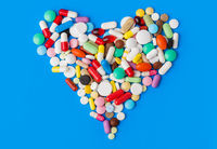 Heart made of pills - medical background