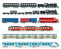 Passenger trains. Subway train, high speed trains, steam train. Illustration
