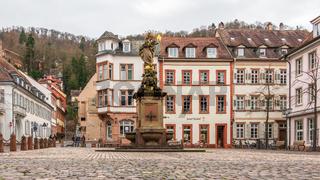 Central Market, ger. Kornmarkt and Monument of Kornmarktmadonna in Downtown of City Heidelberg, Baden-Wuerttemberg, Germany. Europe