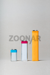 Chart bars created using used batteries displaying increase of batteries recycling
