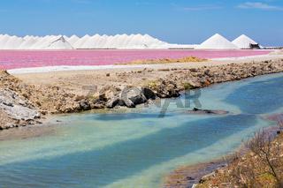 Landscape with pink salt lake and salt mountains