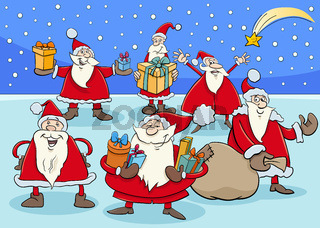 funny Santa Claus cartoon characters group on Christmas time