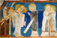 Annunciation. The angel Gabriel tells Mary that she will bear a son. Mary and Elisabeth. Fresco in B