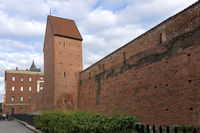 red wall of medieval fortress, Riga, Latvia
