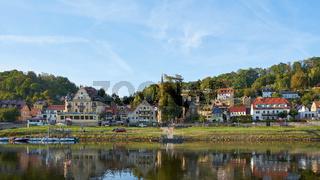Ansicht der Stadt Wehlen im Elbsandsteingebirge