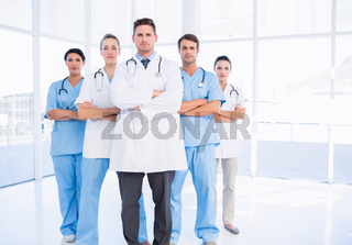 Portrait of serious confident group of doctors