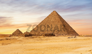 Famous Pyramid of Menkaure, Giza complex, Cairo, Egypt