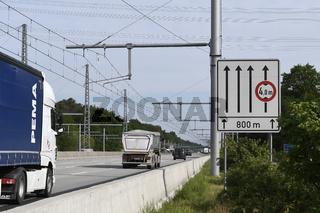 E-Highway-Teststrecke auf der BAB A5 zwischen Darmstadt und Frankfurt