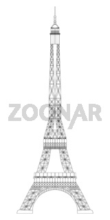 Eiffel Tower isolated on white background. Real scale image