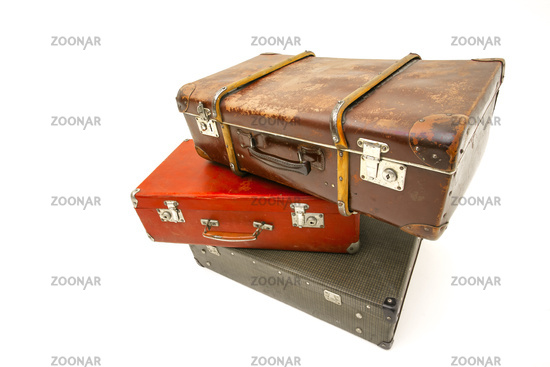 Vintage suitcase over white background