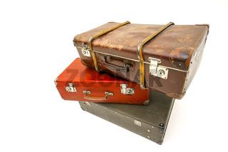 Vintage suitcase over white background