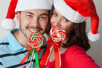 Couple in christmas santa hats