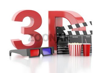 cinema clapper, popcorn and 3d glasses. 3d illustration
