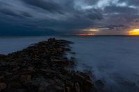 Night view of the rocky shore of the Black Sea, Anapa, Russia
