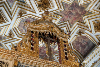 Inside the Sao Francisco Church of Salvador in the State of Bahia, Brazil.
