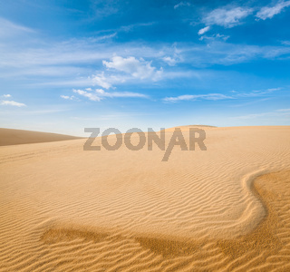 White sand dunes on sunrise