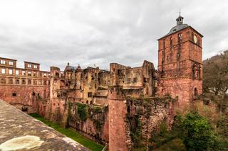 Building Ruprechtbau of Heidelberg Castle, ger. Schloss Heidelberg in Heidelberg, Baden-Wuerttemberg, Germany. Europe