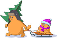 Cartoon Cat with Christmas Tree