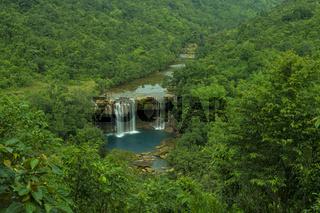 Aerial view of Krang Suri waterfalls, Jaintia Hills, Meghalaya, India