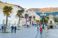 People walking, embankment, Yalta, Crimea