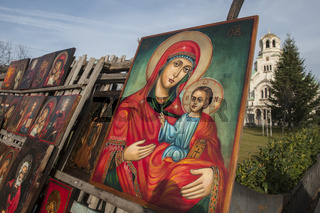 Religious Icons and Art for sale at flea market near Alexander Nevsky Cathedral, Sofia. Bulgaria