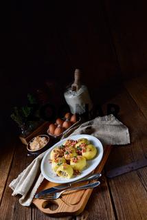 Polish dumplings with meat and mushroom sauerkraut filling