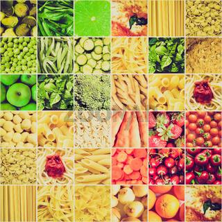 Retro look Food collage