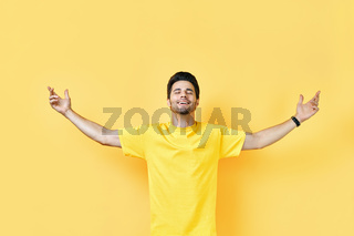 Happy frredom man with arms up
