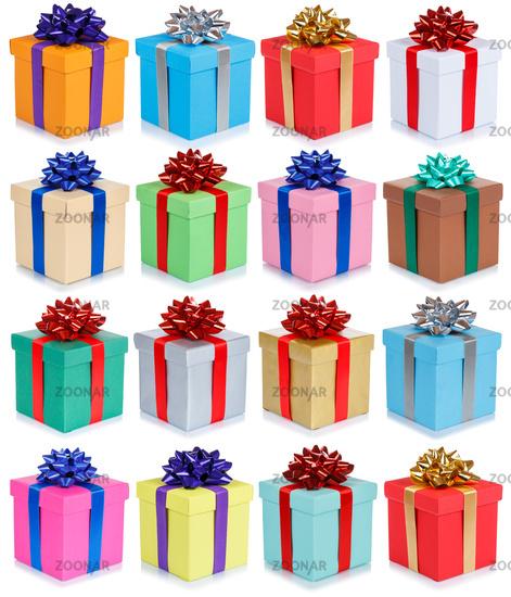 Weihnachten Geschenke Geburtstag Weihnachtsgeschenke Hintergrund Sammlung Collage Geburtstagsgeschenke schenken isoliert