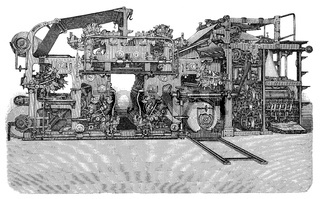 Hoe's 6-cylinder rotary printing press