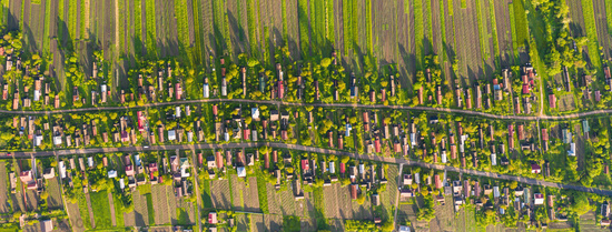 Birds eye view of traditional village, Ukraine. Many old huts