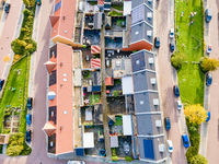Top view of house Village from Drone capture in the air house is brown roof top Urk netherlands Flevoland