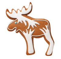 Gingerbread Cookie Moose Isolated On White Background