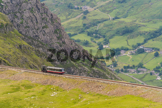 Mount Snowdon Railway, seen from the Llanberis Path, Gwynedd, Wales, UK