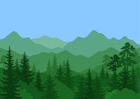 Landscape, Trees and Mountain