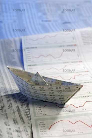 Paper ship on stock prices