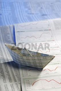 Papierschiff und Aktienkurse