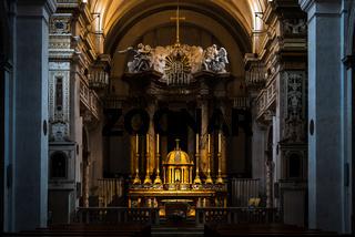 Interior of the church and convent of the Trinita dei Monti in Rome