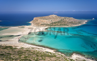 Aerial view on Tigani cape and Balos lagoon with sandy beach. Crete, Greece.