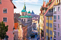 Nurnberg. Colorful street architecture on Nuremberg Burgstrasse view