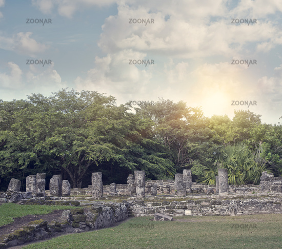 Mayan Ruins in San Gervasio,Cozumel, Mexico.The Palace Structure.