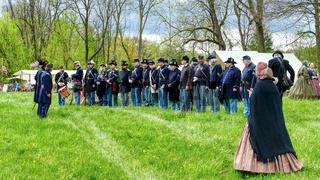Soldiers Lined up for a Civil War Re-enactment