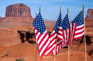 Stars and Stripes in Monument Valley Utah USA