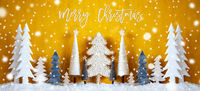 Banner, Christmas Trees, Snowflakes, Yellow Background, Merry Christmas