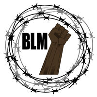 Black Lives Matter Banner with Barbed Wire for Protest Isolated on White Background. Fist Raised Up