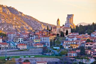 Historic village of Eze on stone cliff above Cote d Azur